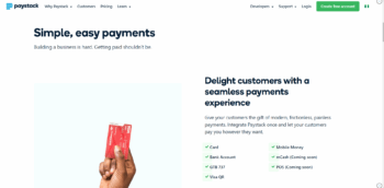 Paystack Nigeria Website Homepage