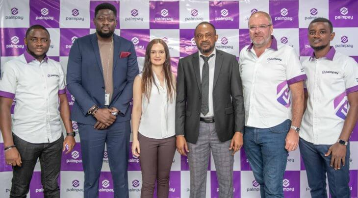 L-R Dami Owolabi, Senior Marketing Manager of PalmPay; Adebiyi Niyi, Director of Corporate Communications, VISA; Sofia Zab, Global Head of Commercial and Marketing; Chidi Okonkwo, Deputy GM, TECNO Nigeria; Jason Mycroft, COO of PalmPay and Ladi Ogunseye, Marketing Manager of PalmPay during the PalmPay Press conference held in Lagos yesterday.