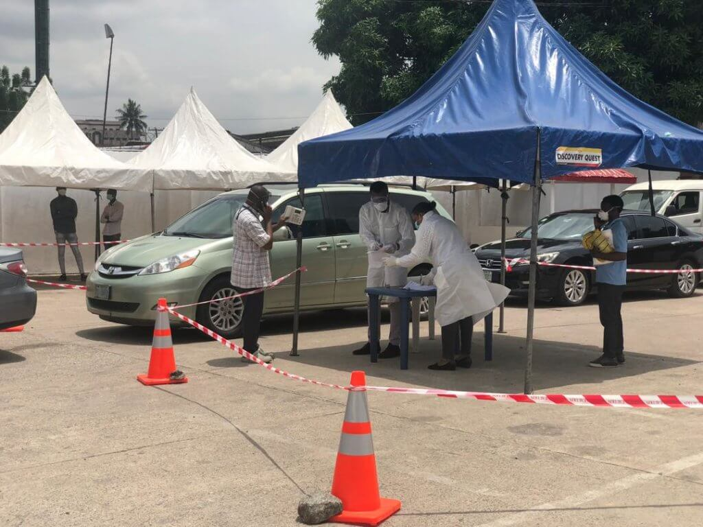 Picture of the drive-through spot in Yaba, Lagos setup by Lifebank in partnership with the Nigeria Institute of Medical Research (NIMR) in Lagos, Nigeria.
